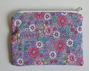 Floral & Lilac Zipper Pouch