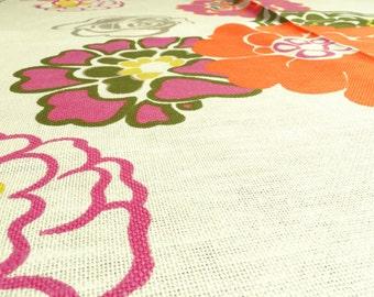German Vintage Fabric 50 x 120 flowers Orange