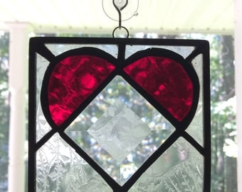 Handmade Stained Glass Bevel Heart Mini Panel Suncatcher. Red Heart with Bevel, Glue Chip Glass & Black Patina