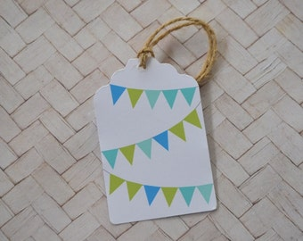 Blue and Green Bunting Gift Tag