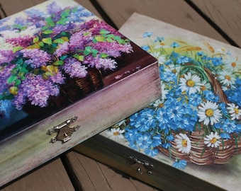 Handmade Wooden Tea Box in Decoupage Style
