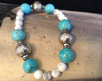 White Howlite and Turquoise Dyed Howlite Bracelet!