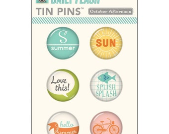 SALE! Summertime Tin Pins Adhesive Metal Badges 6/Pkg