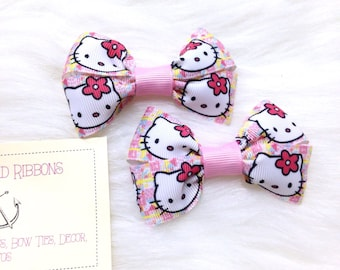 Cute Hello Kitty - Set of TWO Hair Bows / Barrettes / Clips!