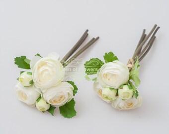 2 Bunch White Silk Ranunculus faux flowers for Wedding Bouquets, Home Decoration, Centerpiece, Permanent Botanical Arrangement