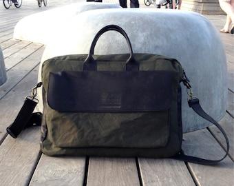 Leather messenger bag, waxed canvas messenger bag, waxed canvas bag, Laptop bag mens, Womens laptop bag .