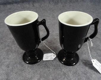 Hall 1272 Black Pedestal Mugs Set Of  2