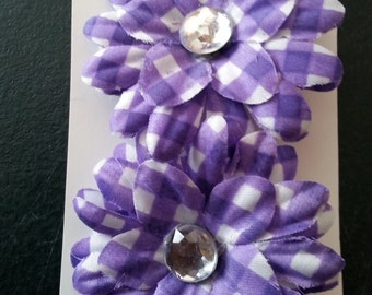 Purple flower hair bows