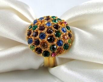 Vintage Multi-Colored Rhinestone Dome Ring