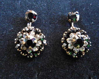 Vintage Black and Diamond Accent Circle Screw Back Earrings
