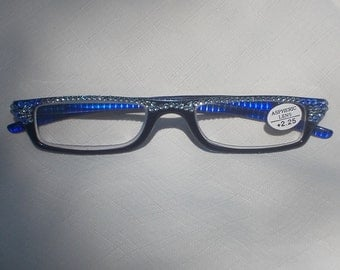 Swarovski Crystal Half Reading Glasses, 2.25 Strength, Low Profile Lens, Black Frames, Blue Inside Arms, Dazzling Crystal Blue and Sapphire