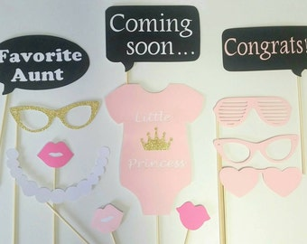 Little Princess 12 Piece Baby Shower Photo Booth Props/ Pink Baby Shower/ Princess Party/Girl Baby Shower/ Pink and Gold Baby Shower