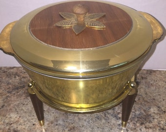 RARE Georges Briard 4 piece teak, brass and glass casserole and warming cradle
