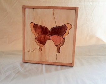 Hand Made Wooden Buttlerfly Puzzle Great for Kids