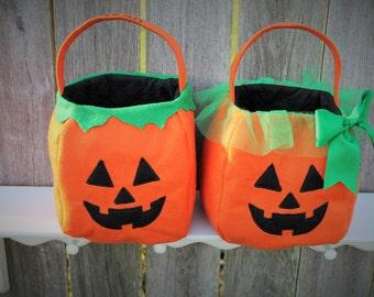 Trick-or-Treat Pumpkin baskets, Halloween bags, Embroidered Jack-O-Lantern