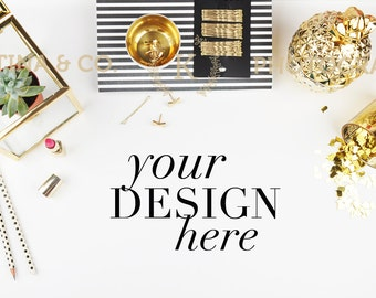 Styled Stock Photography| Styled Desktop Image | Product Mockup | Gold color | Product Photography