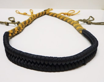 Custom Paracord Goose/Duck Call Lanyard Black Goldenrod and Coyote Brown