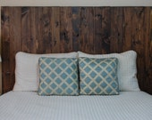 Hanger * Queen Headboard - Dark Walnut Stain. Made with 3 Barn Walls blocks. Hang on the wall like picture frames. Easy Installation