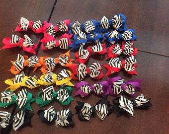 Small zebra loop hair bow