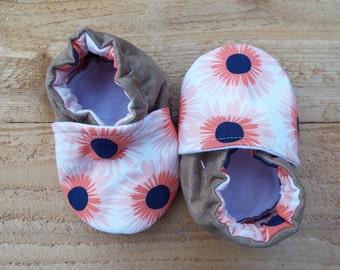 Pink Sunflower Moccasins (6-12M)