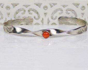 Vintage Coral Sterling Silver Cuff Bracelet Native American Navajo bangle