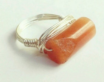 Gemstone Ring- Butterscotch Agate Ring - Silver Ring - Silver Gemstone Ring -Silver Agate Ring- Agate Jewelry- Agate Jewellery- All sizes