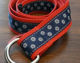 Nautical Adjustable Sailing Belt with Compass Design - Red, Blue and White - For Women