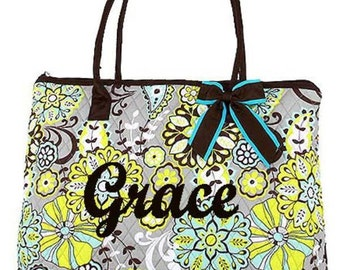 Personalized Quilted Tote Bag with Brown Trim w/ removable bows