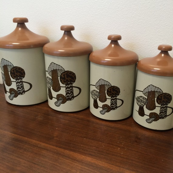 vintage kitchen canister set mushroom design by pantry queen