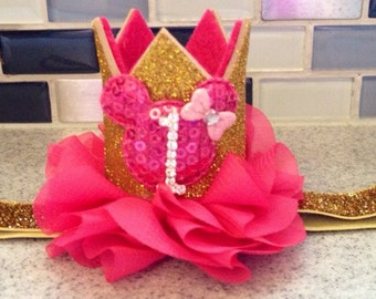 Hot Pink and gold minnie mouse birthday crown headband, minnie mouse birthday headband, first birthday crown