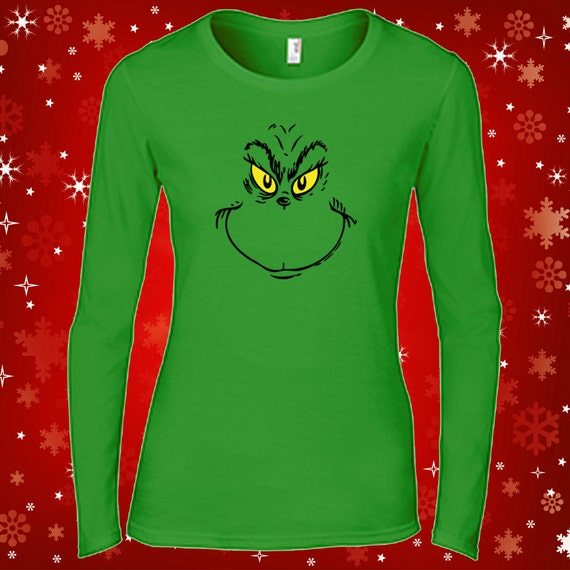 Grinch face women 39 s long sleeve holiday t shirt by for Holiday t shirt bags