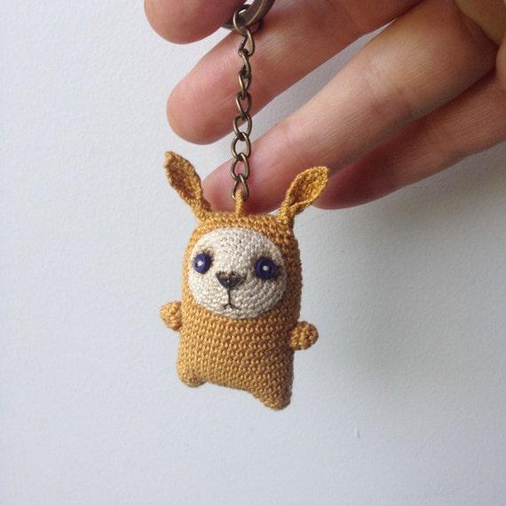 Mustard crochet bunny keychain amigurumi bag charm crochet