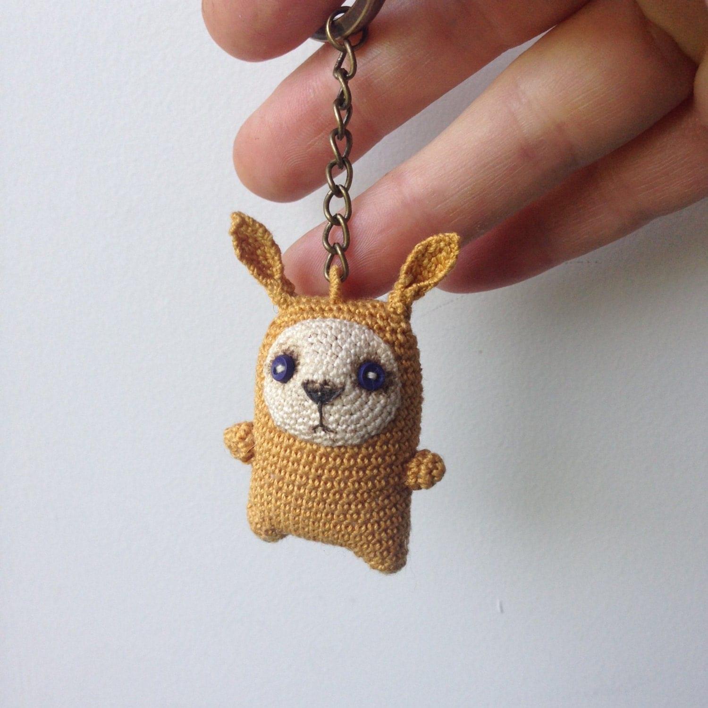 Mustard crochet bunny keychain amigurumi bag charm by LozArts