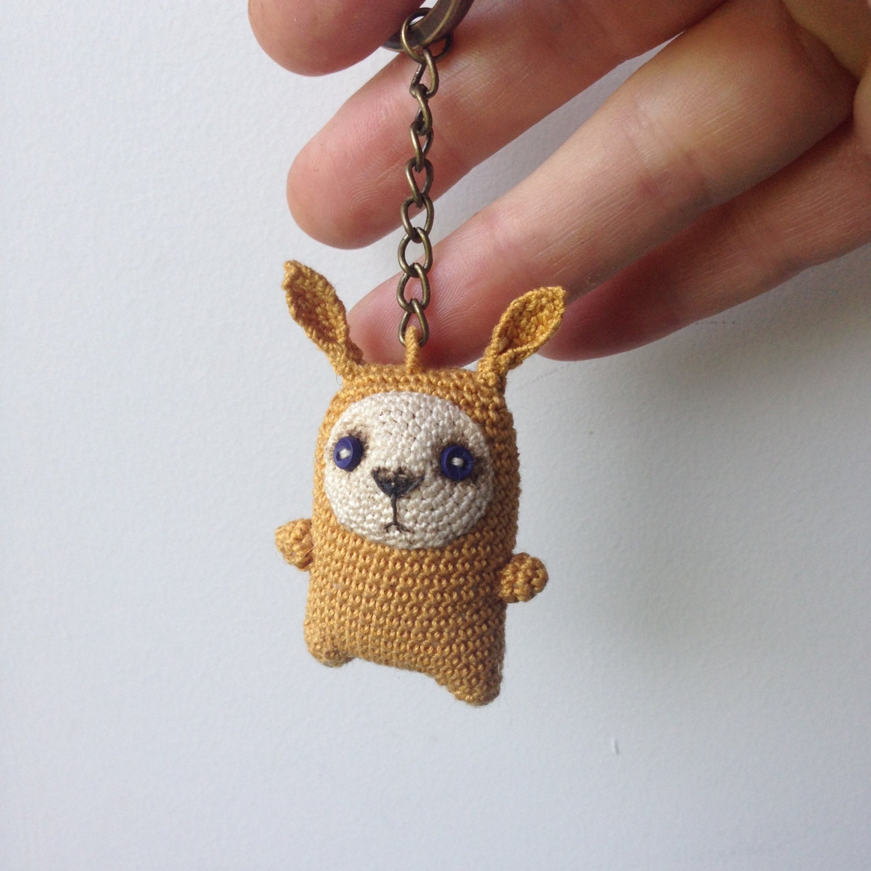Crochet Purse Keychain Pattern : Mustard crochet bunny keychain amigurumi bag charm by LozArts