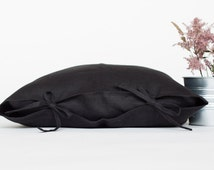 Black linen pillow case tied with a bow, linen pillow cover 16x16, linen pillow cover 20x20.