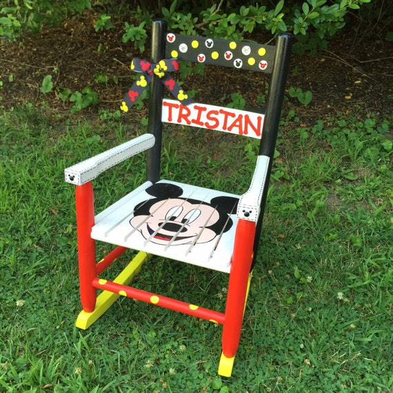 Mickey Mouse Themed Rocking Chair Hand painted Kids Rocker