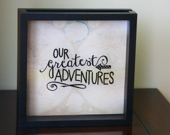 """OUR ADVENTURES Shadow Box 12x12"""", Made to Order, Ticket Stub, Gift for Traveler, World Traveler, Ticket Shadow Box"""