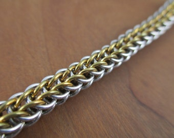Full Persian Chainmaille Bracelet in Brass and Aluminum, Chainmail Bracelet, Chain Jewelry