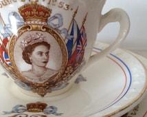 Antique Aynsley Teacup Trio Commemorating the Coronation of HRH Queen Elizabeth II