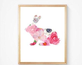 Baby rabbit print, Nursery rabbit print, rabbit print decor, woodland nursery, gift for her, Flower, Print, Rabbit print art, Nursery rabbit