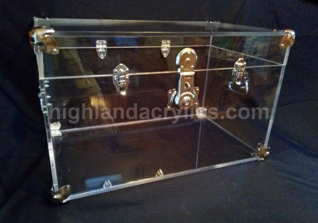 Acrylic lucite clear trunk coffee table chest by highlandacrylics Acrylic clear coffee table