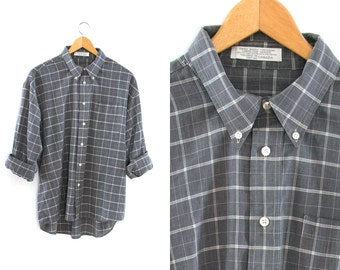 Vintage plaid shirt. Gray and white. Long sleeve. Button front. Button-down collar.