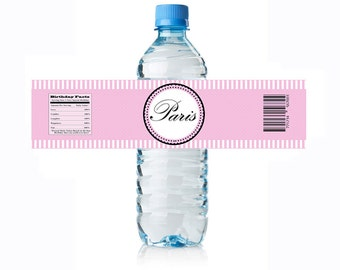 Paris Water Bottle Label- Digital Download - Bottle Label - Paris Party