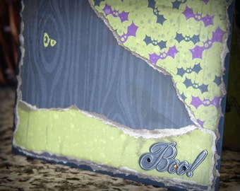 Boo Bats Halloween Art Card Boy Faux Bois Eyes Spider Handmade Lime Green Black Collage OOAK