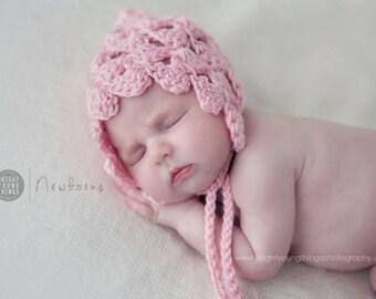 Newborn Pixie Bonnet / Photography Prop / Pale Pink