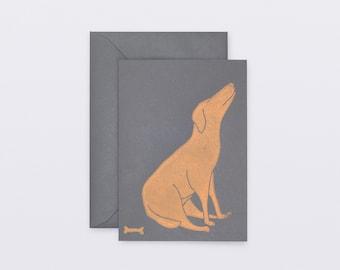 Post card. Linocut printing. Animals - Dog.