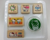 Crazy Sale : NEW Japanese Hello Kitty Wood Stamps and Ink Pad Set  5 stamps and 1 ink pad perfect for daily planner or scrapbook