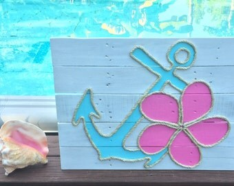 Handmade Anchor and Flower with Rope Beach Pallet Art Coastal Decor Pallet Art Anchor Art Rope Art Nautical Art