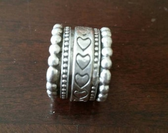 Vintage Sterling Silver Heart Spinning Ring Size 6.5