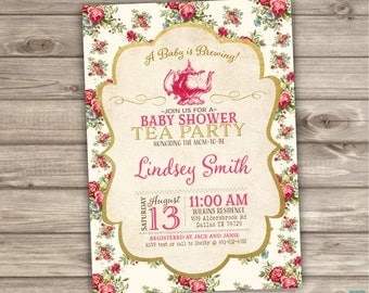 Printable Gold Foil Baby Shower Tea Party Invitations a baby is Brewing Tea Party Bride Invitations Rose NV806